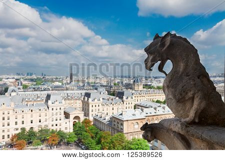 Gargoyle dragon  of Paris on Notre Dame Cathedral church and Paris cityscape, France