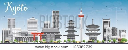 Kyoto Skyline with Gray Landmarks and Blue Sky. Business Travel or Tourism Concept with Modern and Historic Buildings. Image for Presentation Banner Placard and Web Site.