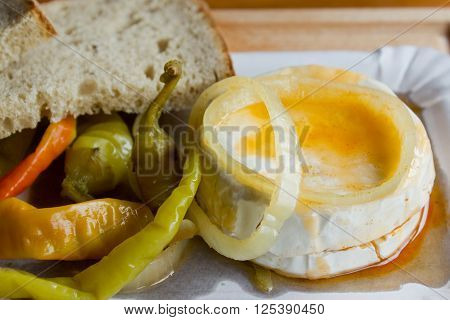 Pickled Camembert Cheese with Peppers and Bread