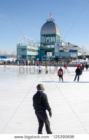 Montreal Canada - 5th March 2016: People skating at Old Port Ice Skating Rink
