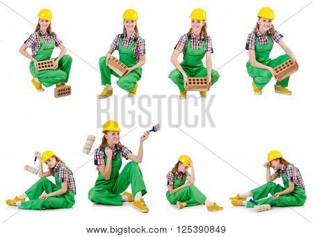 Woman with bricks isolated on white