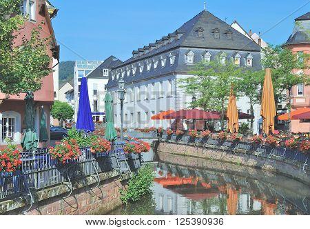 Old Town of Saarburg with Leuk Creek,Rhineland-Palatinate,Germany