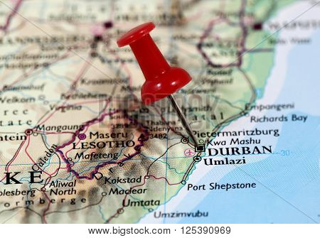Map with pin point of Durban in South Africa