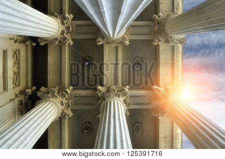SAINT PETERSBURG, RUSSIA - AUGUST 4, 2015.Elements of colonnade and the ceiling of Kazan Cathedral in Saint-Petersburg Russia. Architectural landscape with sunset light.