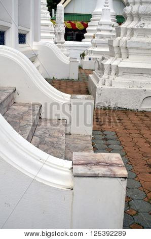 white stairs at a temple in bangkok thailand