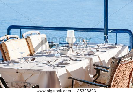 Restaurant Dining Table With An Ocean View