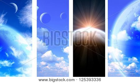Set of vertical space banners with planets, nebula and stars. Elements of this images furnished by NASA
