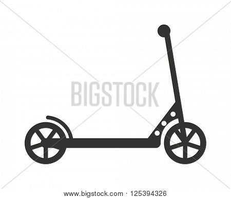 Black push kick scooter fun activity transportation vehicle sport ride toy vector illustration.