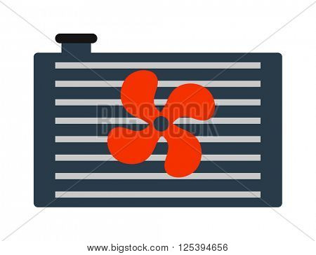 Car radiator heater icon auto parts cooling, engine, metal equipment vector illustration.