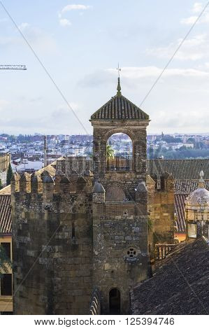 background landscape view of the walls of the Alcázar of the Christian Kings of Cordoba and from the tower of the Alcázar, Spain