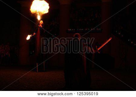 LUTSK UKRAINE - JUNE 29 - Amazing fire show at night in Lutsk on June 29 2008