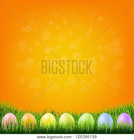 Happy Easter Card With Color Eggs With Gradient Mesh, Vector Illustration