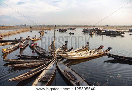 HUE, VIETNAM, January 14, 2016: many boats moored in Tam Giang lagoon area, Hue Vietnam