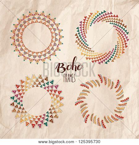 Ethnic Boho Mandalas Over Kraft Paper Texture
