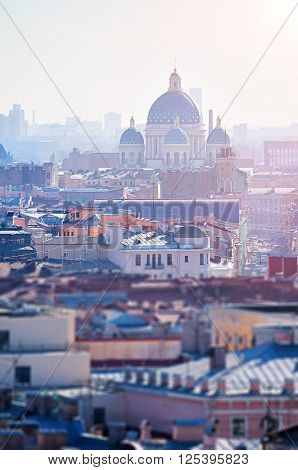 Aerial view of St. Petersburg and Holy Trinity Izmailovo Cathedral in the spring sunny morning in Saint-Petersburg Russia. Tilt shift effect applied. ** Note: Shallow depth of field