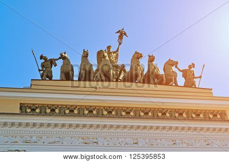 SAINT PETERSBRUG, RUSSIA - MARCH 17, 2015. Closeup view of sculptural group named Chariot of Fame on the roof of the Headquarters in Saint-Petersburg Russia