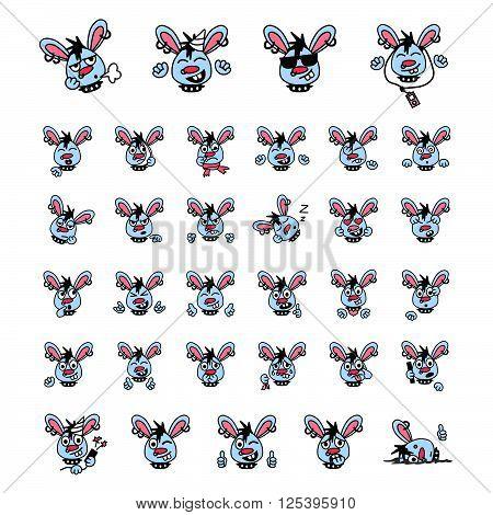 Blue punk rabbit face expressions icon set