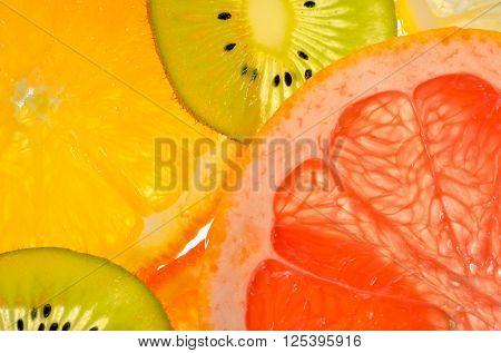 Details of lime, lemon, kiwi and orange slices