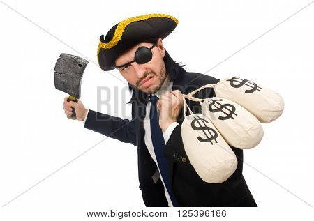 Pirate businessman holding money bags and butcher's knife isolat