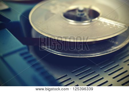 Old vintage reel tape recorder. Close up.