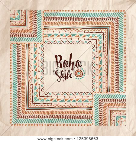 Boho Fashion Style Poster On Vintage Paper Texture