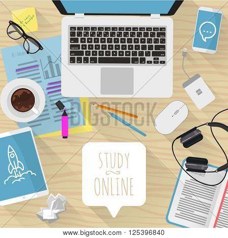 Study online. Vector desktop mock up.