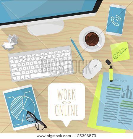 Business online. Vector desktop mock up.