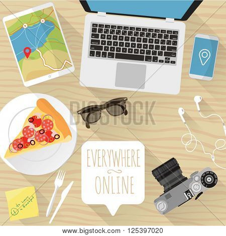 Everywhere online. Vector desktop mock up.
