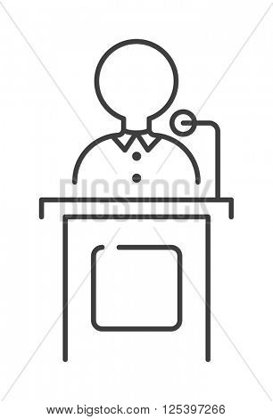 Leading news presenter anchor person header TV communication broadcasting vector illustration.