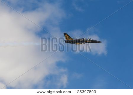 Minsk Belarus-June 21 2014: Aero L-159 ALCA on Air During Aviation Sport Event Dedicated to the 80th Anniversary of DOSAAF Foundation in Minsk on June 21 2014 in Minsk Republic of Belarus