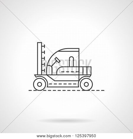 Agricultural machinery. Tractors and combines. Machine for sprinkling. Field works. Flat line style vector icon. Single design element for website, business.