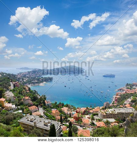 lanscape of riviera coast, turquiose water and blue sky of cote dAzur at summer day, France
