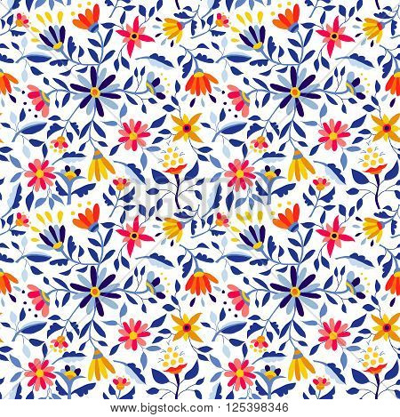 Retro Flower Pattern In Vibrant Colors For Spring