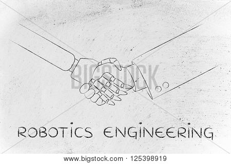 robotics engineering: man and robot shaking hands concept of innovation to help with various tasks