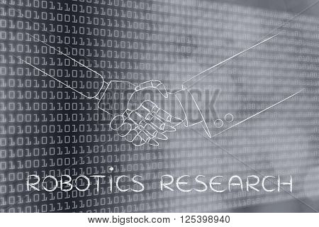 robotics research: man and robot shaking hands concept of innovation to help with various tasks
