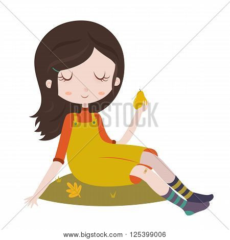 Cartoon character. Girl in overalls sitting on grass with pear in hand. Autumn scene, harvest. Vector illustration isolated on white background.