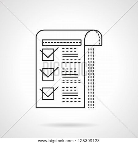Paper sheet with marked checkboxes. Management documents. Flat line style vector icon. Single design element for website, business.