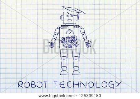 Funny Robot With Graduation Hat, Robot Technology