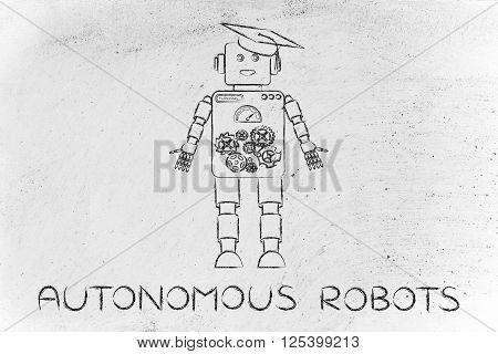 Funny Robot With Graduation Hat, Autonomous Robots