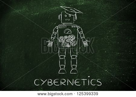 Funny Robot With Graduation Hat, Cybernetics