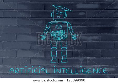 Funny Robot With Graduation Hat, Artificial Intellignce