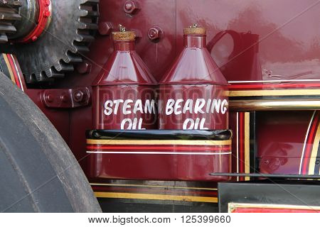 The Oil Cans of a Vintage Steam Traction Engine.