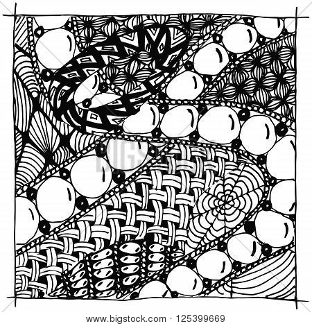 Vector illustration zentangle. black and white anti stress for adults. Black and white.