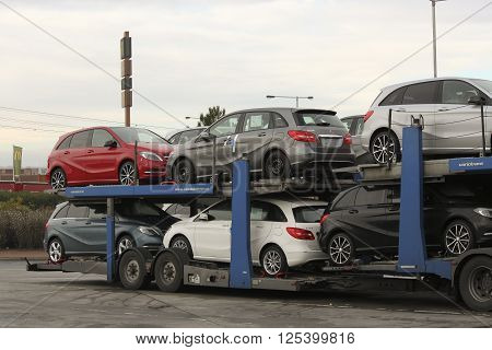 PRAGUE CZECH REPUBLIC - NOVEMBER 2 2012: New Cars Mercedes on a conveyance platform ready for delivery