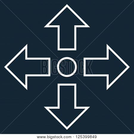 Maximize Arrows vector icon. Style is stroke icon symbol, white color, dark blue background.