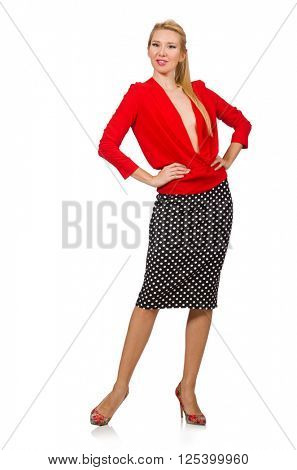 Pretty blond girl wearing red blouse isolated on white