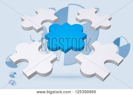 jigsaw pieces against blue pie chart graphic