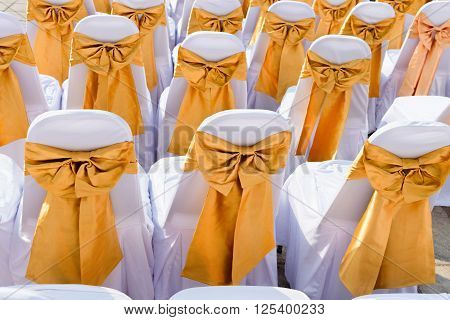 Public Event Seating With Silk Chair Covers And Sashes