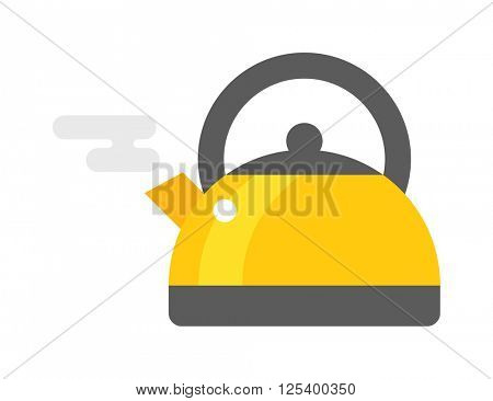 Stovetop whistling kettle kitchen teapot flat vector.