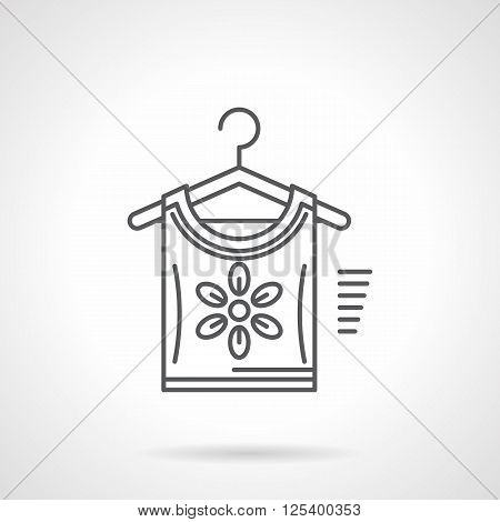 Shirt or blouse with floral print on a hanger. Web store of a clothes and dress. Flat line style vector icon. Single design element for website, business.